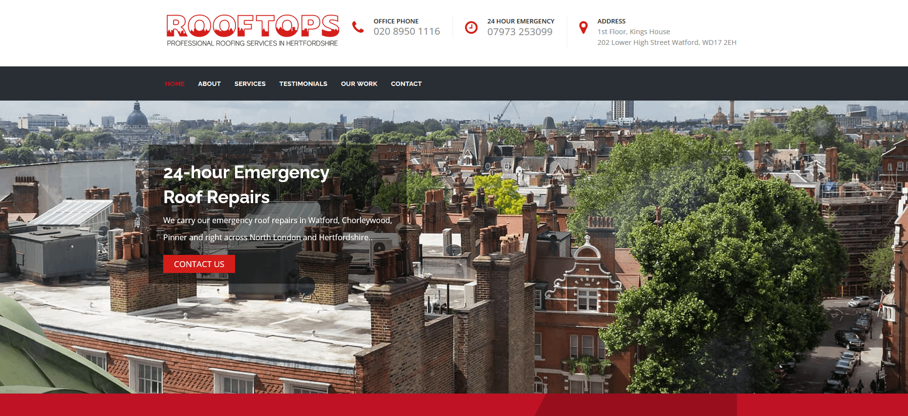 Wordpress web design for a roofing company in Watford