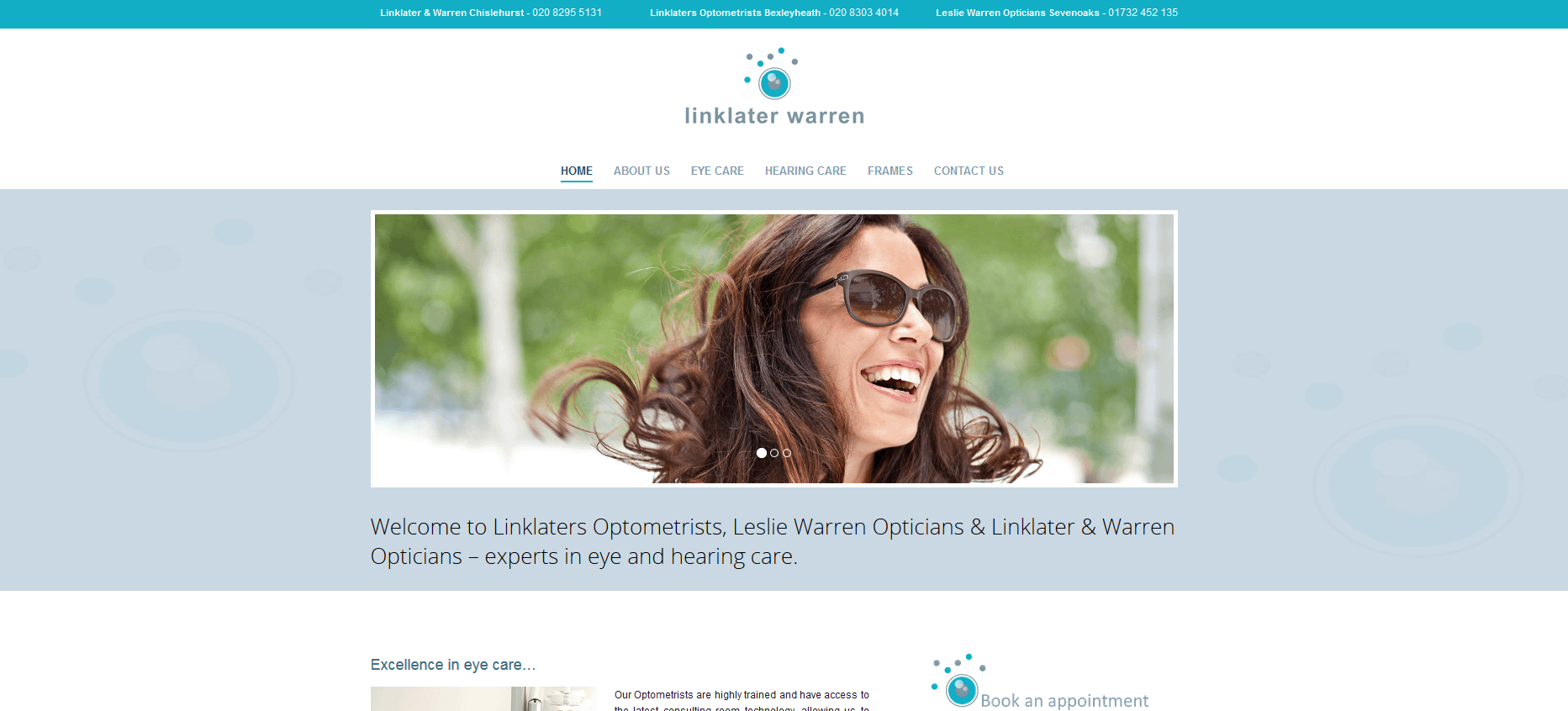 Mobile friendly website for a optimetrists in Kent