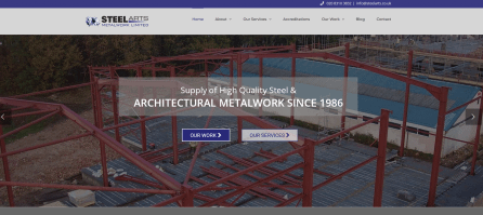 Web design home pge for a steel fabricator in south London