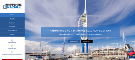 Wordpress website homepage for a drainage company in Portsmouth