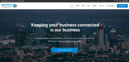 Beautifully designed website home page for a mobile solutions provider in Maidstone