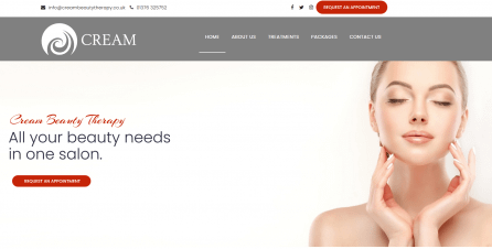 Web design home page for a beauty salon in Braintree, Essex