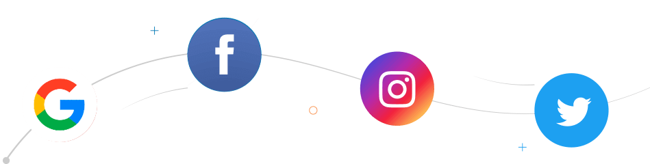 Google, Facebook, Instagram and Twitter icons
